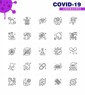 COVID19 corona virus contamination prevention. Blue icon 25 pack such as packet, blood, care, shield, medical viral coronavirus 2019-nov disease Vector Design Elements icon