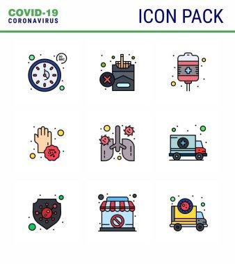 Coronavirus Precaution Tips icon for healthcare guidelines presentation 9 Filled Line Flat Color icon pack such as anatomy, disease, drip, dirty, virus viral coronavirus 2019-nov disease Vector Design Elements icon