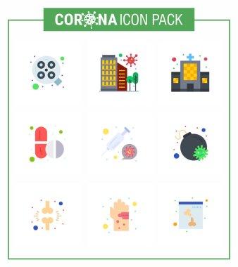 Coronavirus 2019-nCoV (Covid-19) Prevention icon set  capsule, pills, safety, medicine, clinic viral coronavirus 2019-nov disease Vector Design Elements