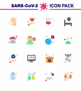 Covid-19 icon set for infographic 16 Flat Color pack such as event, medical room, life, hospital bed, donation viral coronavirus 2019-nov disease Vector Design Elements icon