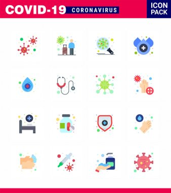 COVID19 corona virus contamination prevention. Blue icon 25 pack such as water, blood, travel, virus, protection viral coronavirus 2019-nov disease Vector Design Elements