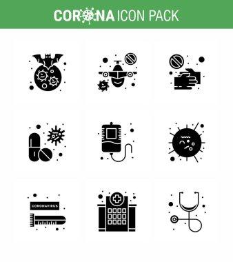 Corona virus disease 9 Solid Glyph Black icon pack suck as  capsule, virus, warning, touch, pandemic viral coronavirus 2019-nov disease Vector Design Elements icon
