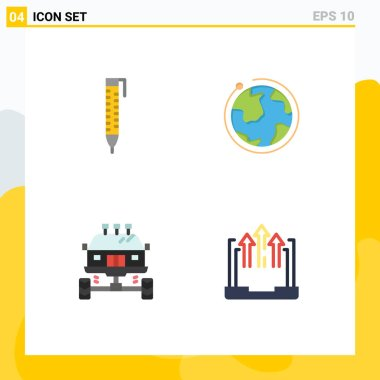 Pack of 4 creative Flat Icons of pen, car, globe, hotel, transport Editable Vector Design Elements icon