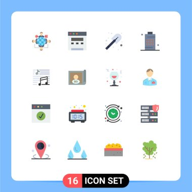 16 Creative Icons Modern Signs and Symbols of note, music, firefighter, power, energy Editable Pack of Creative Vector Design Elements icon