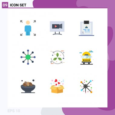 Stock Vector Icon Pack of 9 Line Signs and Symbols for eco, bio, diagnosis, web, network Editable Vector Design Elements icon
