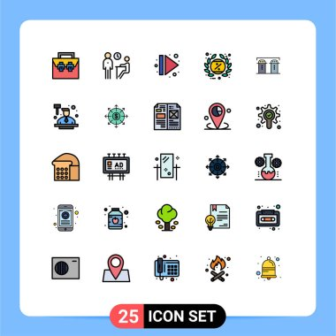 Stock Vector Icon Pack of 25 Line Signs and Symbols for label, black friday, people, tag, multimedia Editable Vector Design Elements icon