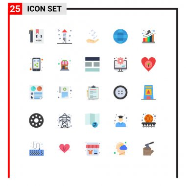 Stock Vector Icon Pack of 25 Line Signs and Symbols for graph, security, fist, internet, rock and roll Editable Vector Design Elements icon