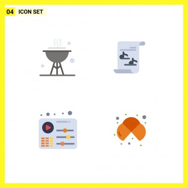 Set of 4 Commercial Flat Icons pack for bbq, equalizer, dinner, music, play Editable Vector Design Elements icon
