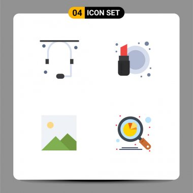 User Interface Pack of 4 Basic Flat Icons of communication, image, support, cosmetics, analysis Editable Vector Design Elements icon