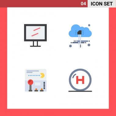 Stock Vector Icon Pack of 4 Line Signs and Symbols for computer, game, cloud, joystick, clinic Editable Vector Design Elements icon