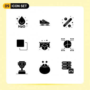 Stock Vector Icon Pack of 9 Line Signs and Symbols for model, stack, percentage, quadruple, four Editable Vector Design Elements icon