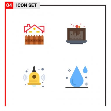 Flat Icon Pack of 4 Universal Symbols of apartment, dessert, fence, brownie, education Editable Vector Design Elements icon