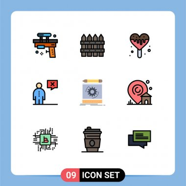 Stock Vector Icon Pack of 9 Line Signs and Symbols for draft, human, garden, corporate, business Editable Vector Design Elements icon