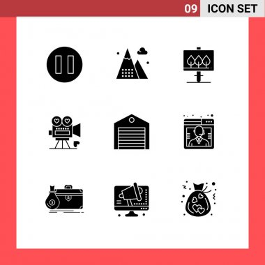 Stock Vector Icon Pack of 9 Line Signs and Symbols for order, delivery, sign, valentine, video camera Editable Vector Design Elements icon