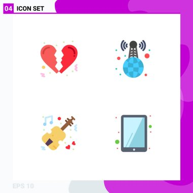 Editable Vector Line Pack of 4 Simple Flat Icons of broken, violin, world wide, news, ipad Editable Vector Design Elements icon
