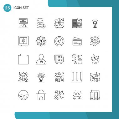 Stock Vector Icon Pack of 25 Line Signs and Symbols for cup, house, storage, city, shot Editable Vector Design Elements icon