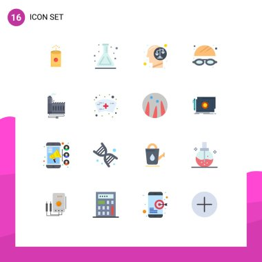 Set of 16 Modern UI Icons Symbols Signs for energy, consumption, decision, park, goggles Editable Pack of Creative Vector Design Elements icon