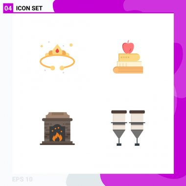 Editable Vector Line Pack of 4 Simple Flat Icons of crown, chimney, jewelry, pen, flame Editable Vector Design Elements icon