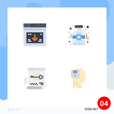 Pack of 4 creative Flat Icons of internet, key, website, medical, login Editable Vector Design Elements icon