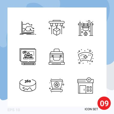 Stock Vector Icon Pack of 9 Line Signs and Symbols for debate, business, bonfire, argument, fire Editable Vector Design Elements icon