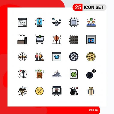 Stock Vector Icon Pack of 25 Line Signs and Symbols for gadget, computers, recording, chip, transport Editable Vector Design Elements icon