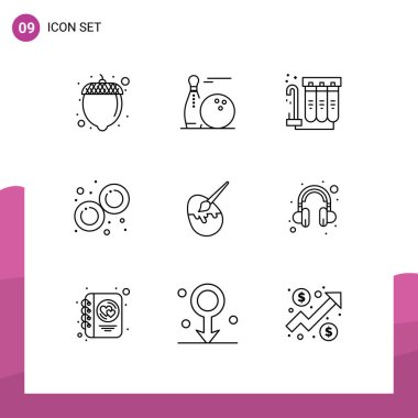 Stock Vector Icon Pack of 9 Line Signs and Symbols for easter, mitosis, filter, laboratory, biology Editable Vector Design Elements icon