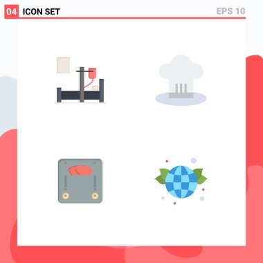 Editable Vector Line Pack of 4 Simple Flat Icons of medical, machine, hospital, chef hat, weighing Editable Vector Design Elements icon