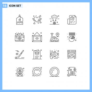 Stock Vector Icon Pack of 16 Line Signs and Symbols for medical aid, first aid kit, connect, bag, job Editable Vector Design Elements icon