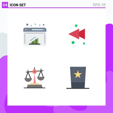Editable Vector Line Pack of 4 Simple Flat Icons of chart, law, web, rewind, clothing Editable Vector Design Elements icon