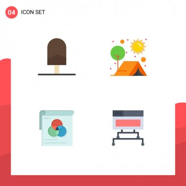 Set of 4 Commercial Flat Icons pack for and, brusher, kitchen, outdoor, wallpaper Editable Vector Design Elements icon