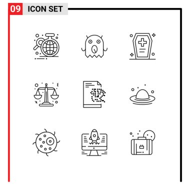 Stock Vector Icon Pack of 9 Line Signs and Symbols for server, scales, casket, law, horrible Editable Vector Design Elements icon