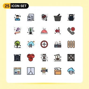 Stock Vector Icon Pack of 25 Line Signs and Symbols for accounting, checkout, questionnaire, basket, love Editable Vector Design Elements icon