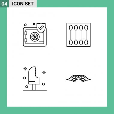 Stock Vector Icon Pack of 4 Line Signs and Symbols for insurance, dessert, security, face brush, ice Editable Vector Design Elements icon