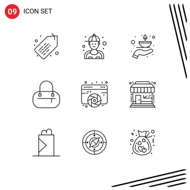 Stock Vector Icon Pack of 9 Line Signs and Symbols for graphic, designing, fire, design, bag Editable Vector Design Elements icon