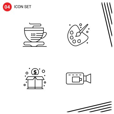 Stock Vector Icon Pack of 4 Line Signs and Symbols for tea, funding, color, painting, cam Editable Vector Design Elements icon