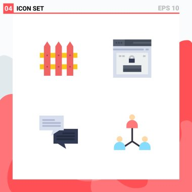 Pack of 4 creative Flat Icons of construction, communication, internet, website, group Editable Vector Design Elements icon