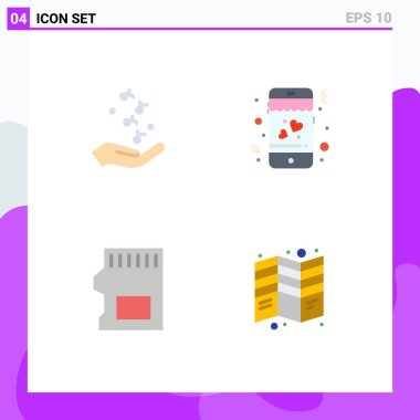 User Interface Pack of 4 Basic Flat Icons of fist, sd, rock, love, data Editable Vector Design Elements icon