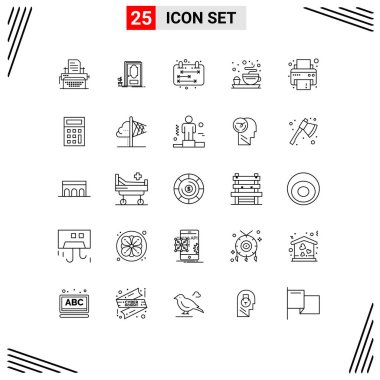Stock Vector Icon Pack of 25 Line Signs and Symbols for printer, device, business, tea, breakfast Editable Vector Design Elements icon