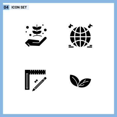 Stock Vector Icon Pack of 4 Line Signs and Symbols for agriculture, construction, give, music, repair Editable Vector Design Elements icon