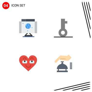 Pack of 4 Modern Flat Icons Signs and Symbols for Web Print Media such as computer, heart, technology, password, favorite Editable Vector Design Elements icon
