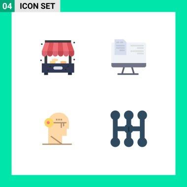 Flat Icon Pack of 4 Universal Symbols of city, lock, computer, online, unlock Editable Vector Design Elements icon