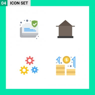 Set of 4 Commercial Flat Icons pack for connection, configuration, secure, house, preferences Editable Vector Design Elements icon