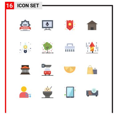 Stock Vector Icon Pack of 16 Line Signs and Symbols for hut, home, safe, cottage villa, insurance Editable Pack of Creative Vector Design Elements icon