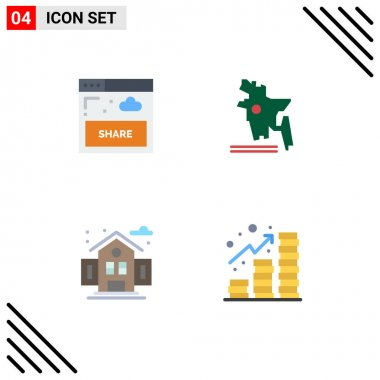 4 User Interface Flat Icon Pack of modern Signs and Symbols of interface, school, website, bangladesh, profit Editable Vector Design Elements icon