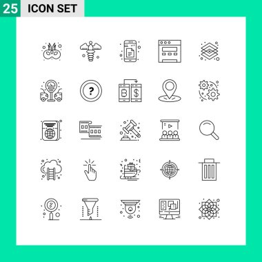 Stock Vector Icon Pack of 25 Line Signs and Symbols for layer, design, data, creative, browser Editable Vector Design Elements icon