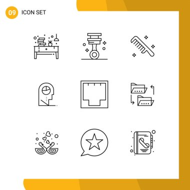 Stock Vector Icon Pack of 9 Line Signs and Symbols for connection, man, tools, profile, clean Editable Vector Design Elements icon