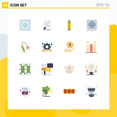 Set of 16 Modern UI Icons Symbols Signs for floral, grid, education, matrix, infrastructure Editable Pack of Creative Vector Design Elements icon