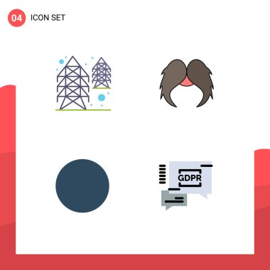 Pack of 4 creative Flat Icons of electricity, circle, supply, movember, gdpr Editable Vector Design Elements icon