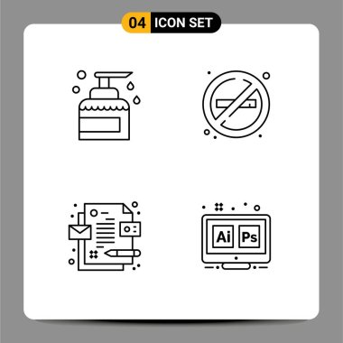 Stock Vector Icon Pack of 4 Line Signs and Symbols for cleaning, corporate, product, no, id Editable Vector Design Elements icon