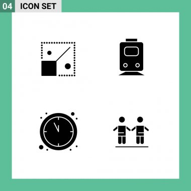 Stock Vector Icon Pack of 4 Line Signs and Symbols for full, clock, creative, train, new year Editable Vector Design Elements icon
